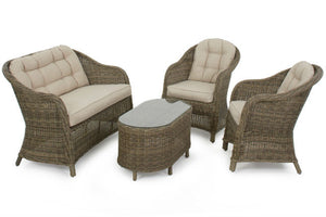Beige cushions on the Exeter Rounded High Back Sofa set from Gardenbox