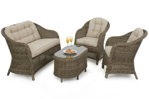 Comfy high back seating for 4 on the wicker style rattan Exeter Sofa set from Gardenbox