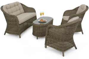 Two comfy chairs and a two seater sofa in the Gardenbox Exeter Rounded High Back Sofa set