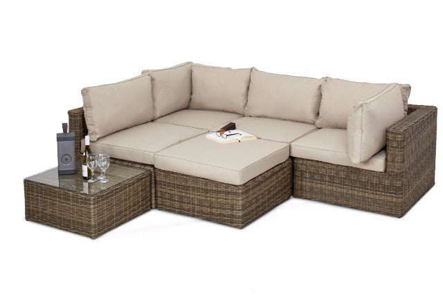 Wicker Style Rattan Exeter Square Shaped Corner Sofa Set | Gardenbox
