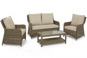 Two comfy chairs and a two seater sofa in the Gardenbox Exeter Square High Back Sofa set