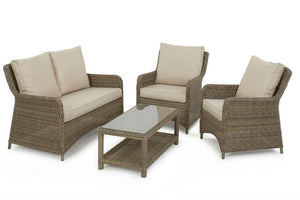 Beige cushions on the Exeter Square High Back Sofa set from Gardenbox