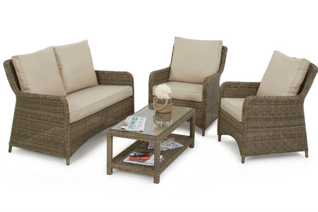Wicker Style Rattan Exeter Square High Back Sofa Set | Gardenbox.co.uk