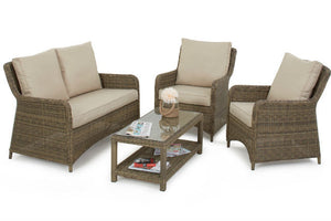 Wicker style Exeter Rattan Weave with beige cushions and a square glass topped coffee table