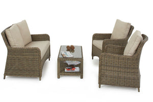 Traditional wicker style rattan weave on the Exeter range from Gardenbox