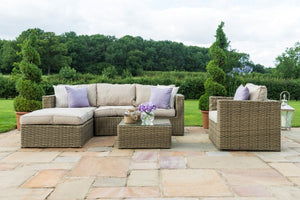 Winchester Chaise Corner Sofa with Chair by Maze Rattan - Gardenbox
