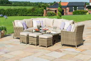 Winchester Venice Corner Sofa Dining Set with Armchair Ice Bucket & Rising Table by Maze Rattan - Gardenbox
