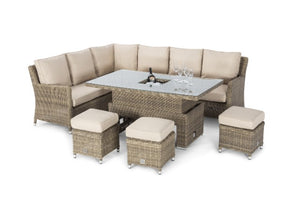 Winchester Venice Corner Sofa Dining Set with Ice Bucket & Rising Table by Maze Rattan - Gardenbox