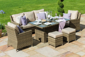 Winchester Venice Sofa Dining Set with Ice Bucket & Rising Table by Maze Rattan - Gardenbox