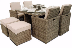 Wicker style Rattan Exeter 8 Seater Cube Dining Set