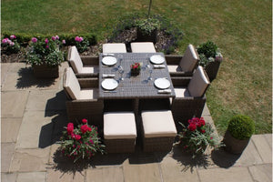 Wicker style Rattan Exeter 8 Seater Cube Dining Set Gardenbox