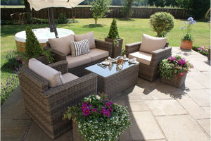 Rectangular coffee table with glass top included in the Exeter Square Shaped 2 Seater Sofa set from Gardenbox