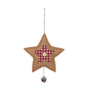Decorative Hanging Star made from Hessian Material - Gardenbox