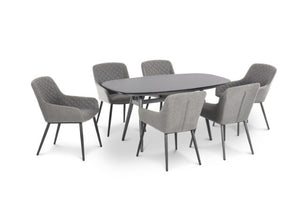 Maze Rattan Zest 6 Seat Oval Dining Set In Weatherproof Fabric