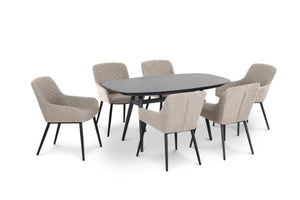 Maze Rattan Zest 6 Seat Oval Dining Set In Weatherproof Fabric - Gardenbox