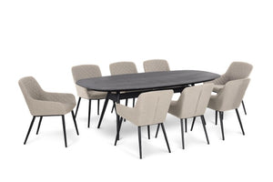 Maze Rattan Zest 8 Seat Oval Dining Set In Weatherproof Fabric