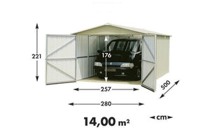 Metal Garage 9ft Wide by 17ft Deep in Grey 1017 by Yardmaster - Gardenbox