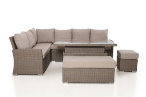 Harrogate Rectangular Corner Dining Set with Rising Table and Weatherproof Cushions by Maze Rattan - Gardenbox