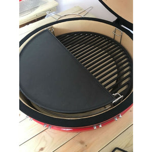 Universal Cast Iron Half Moon Solid Grate for Large Kamado Charcoal BBQ Big Green Egg - Gardenbox