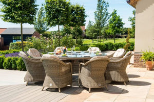 Winchester 8 Seat Round Fire Pit Dining Set with Venice Chairs and Lazy Susan by Maze Rattan - Gardenbox