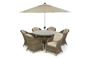Winchester 6 Seat Round Dining Set with Heritage Chairs by Maze Rattan - Gardenbox