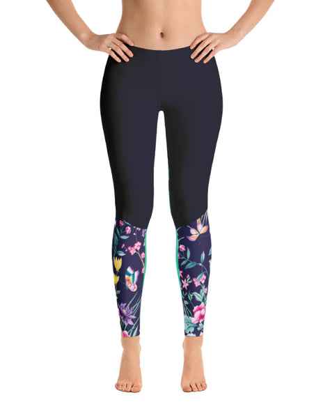 Navy Flower Leggings