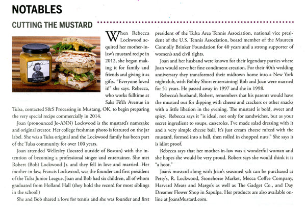 JoAn's Mustard featured in Edibles Tulsa September 2015 issue