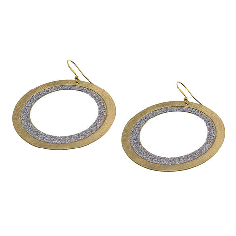 Earrings 50 mmOpen circle scratched gold/glitter silver