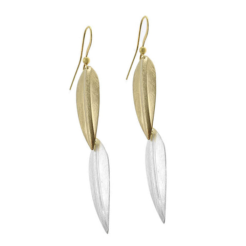 Earrings Leaf style scratched gold+silver ER