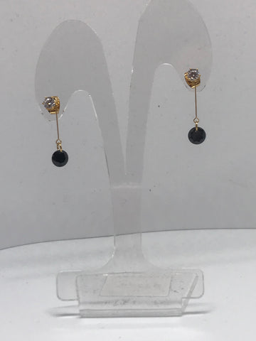 Earrings  - Black stone pendant