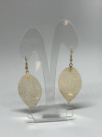 Earrings  - Detailed Leaf - gold
