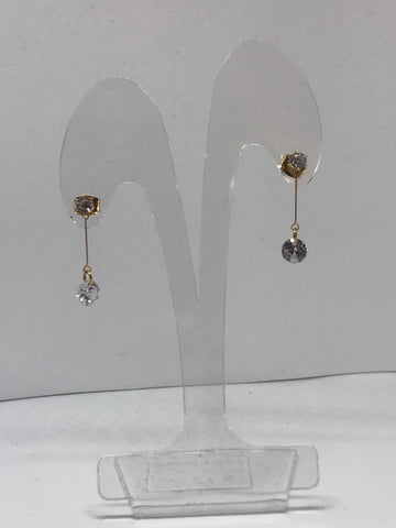 Earrings  - Gold pendant earrings with glass beads