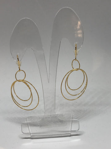 Earrings - Multi ribbed circles - gold