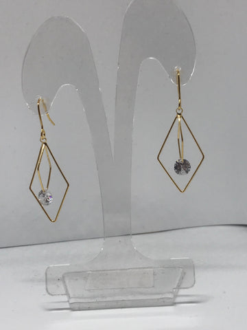 Earrings  - small and big triangle with glass bead