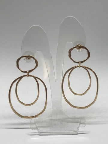 Earrings  - three circle hammered earrings gold