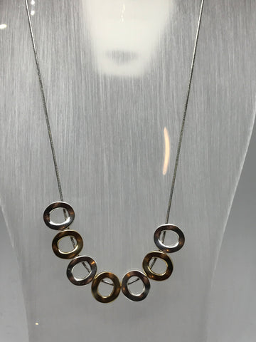 Necklace - 16 inch with multi two toned circles