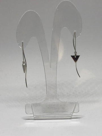 Earrings  -  Small triangle twister threader-  Silver