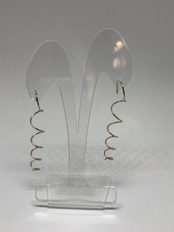 Earrings  - 2 inch long metal spring - Gold