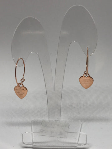 Earrings - Heart Pendant on hoop- Rosegold