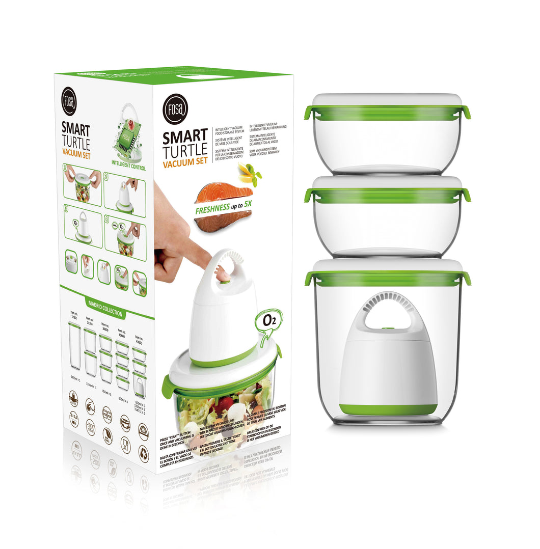 FOSA Vacuum Food Storage - Madrid Collection - Standard Set with Turtle Vacuum (Item No. MC40000)