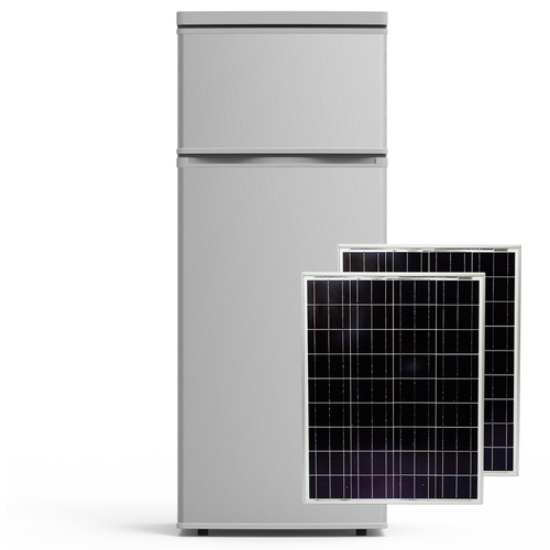 VoltRay Solar DC Powered Refrigerator 7.4 cu.ft + 160W Solar Panel Combo