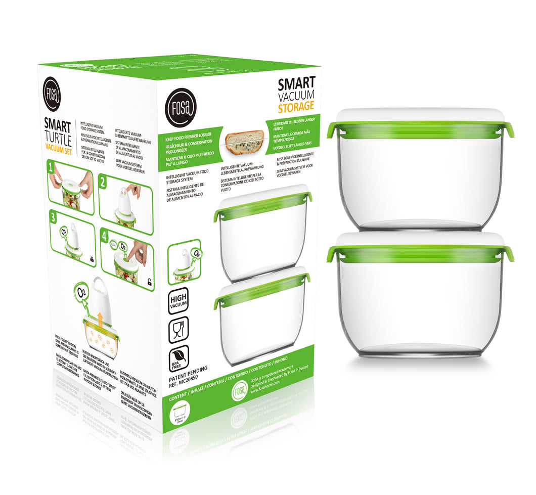 FOSA Vacuum Food Storage - Madrid Collection - Additional Container Set - 2 x 850 ml (Item No. MC20850)