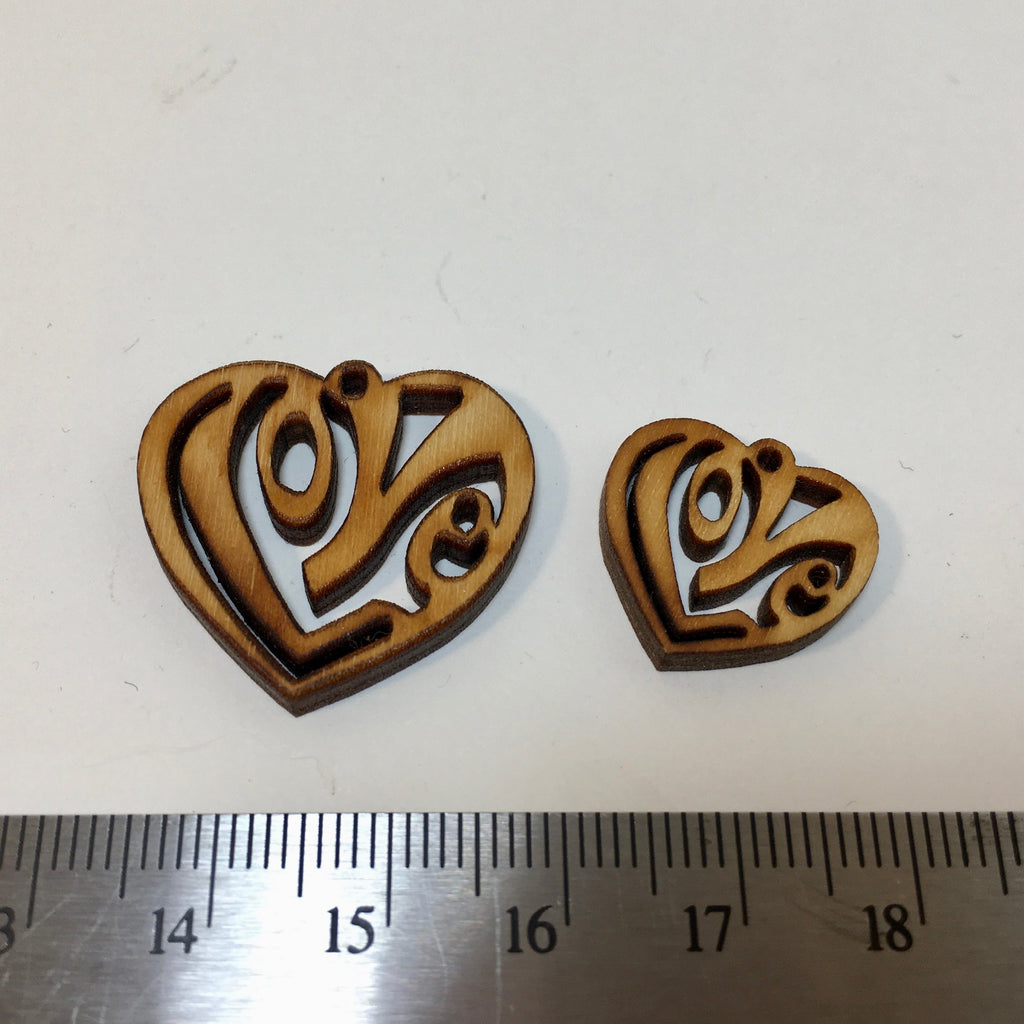 Wooden Love Heart Charm - 2.99