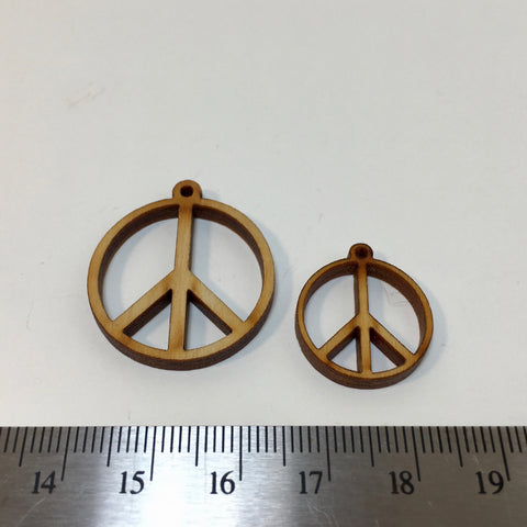 Wooden Peace Sign Charm - 2.99