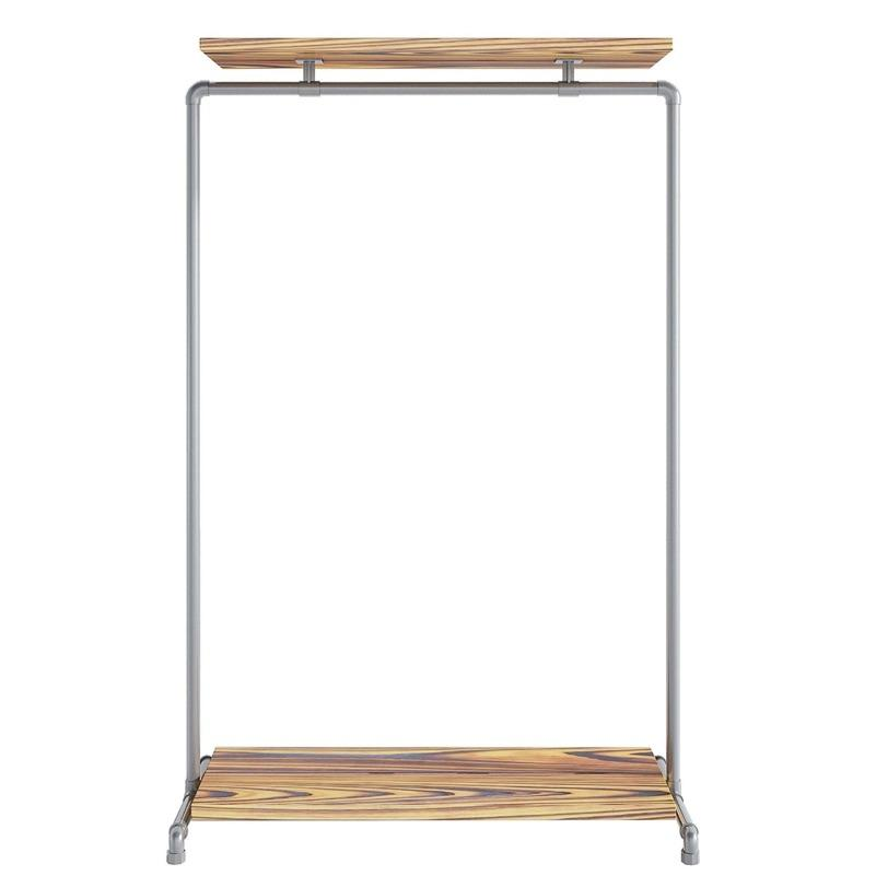 Wood Double Shelf Clothes Rail