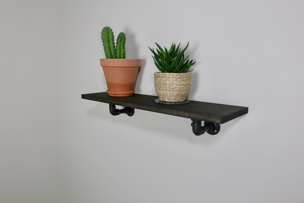 ZIITO H6 - Wood shelf with black pipe bracket