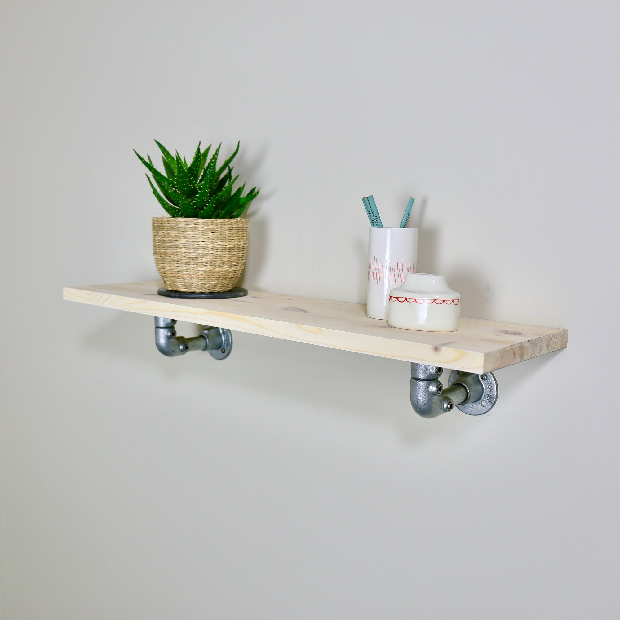 Wood Shelf // Galv pipe bracket