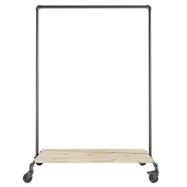 Ziito Roll Clothes rail on wheels with a low shelf