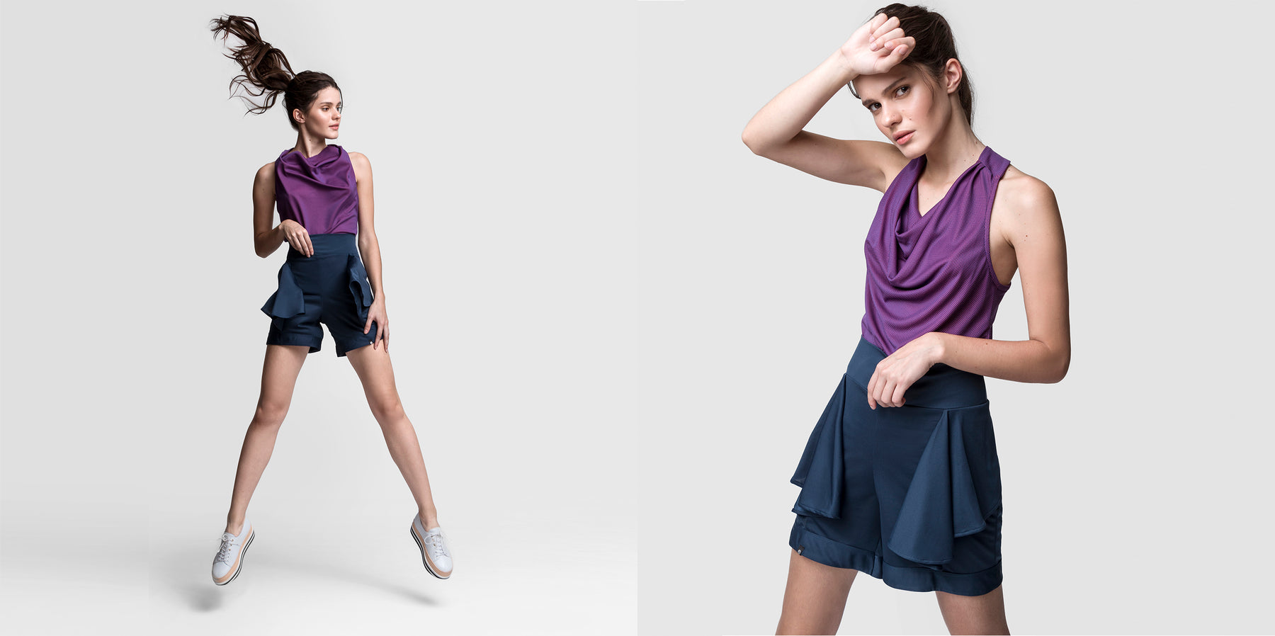 Adrenalina Purple Draped Top Navy Blue Flare Shorts Stuart Weitzman Shoes