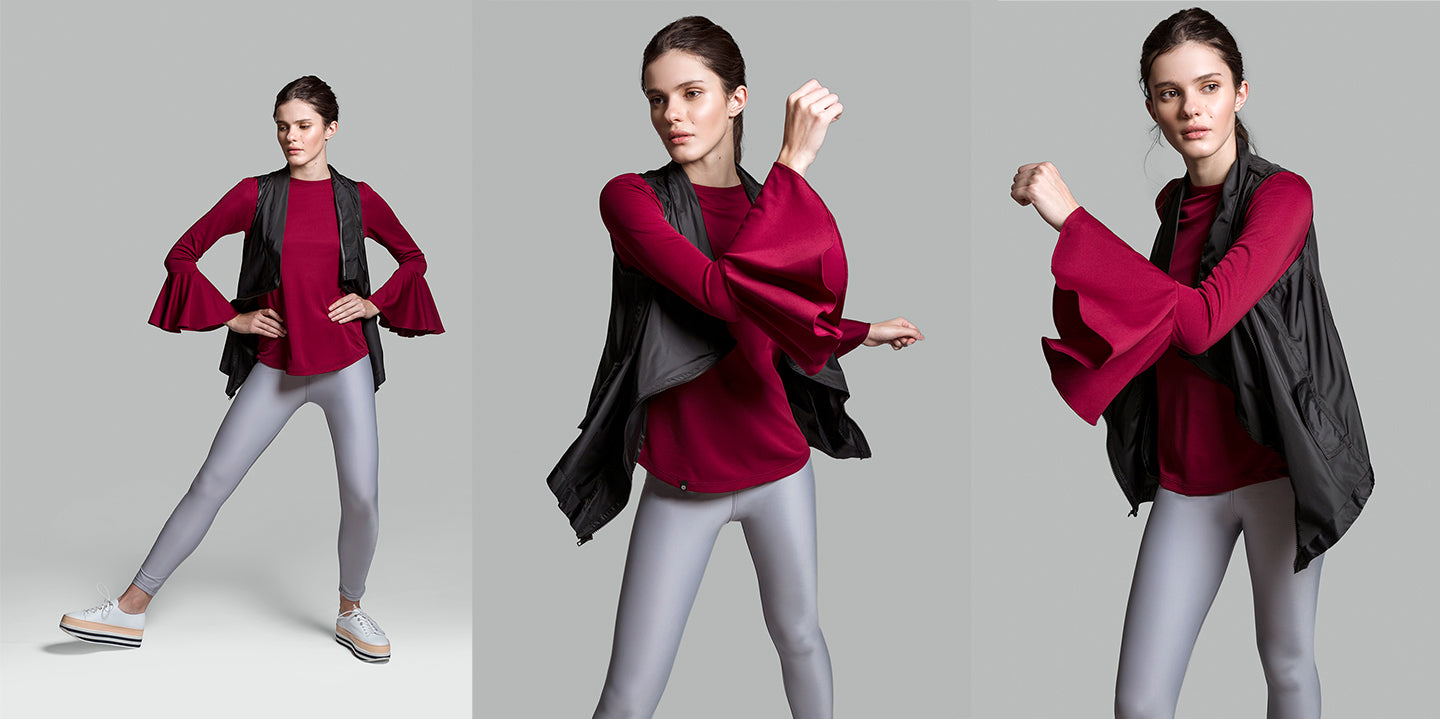 Adrenalina Glamour: Deep Red Flare Long Sleeve Shirt with Black Vest & Classic Light Gray Leggings Stuart Weitzman Shoes